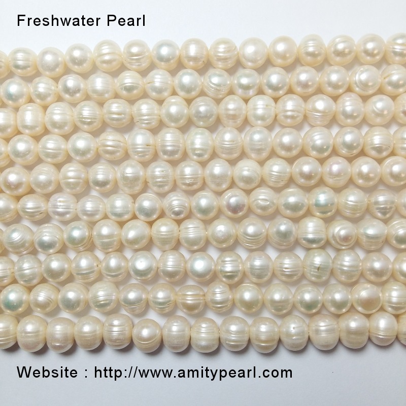 8-9mm Ringed Round Potato Coloured Freshwater Pearls Beads for Jewellery Making